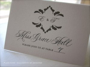 Contemporary script - place card