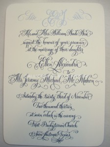 Contemporary Calligraphy Wedding Invitation