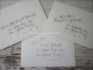 fancy and elegant calligraphy wedding envelopes