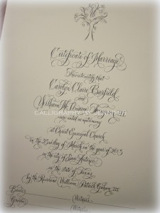 Certificate of Marriage in Calligraphy