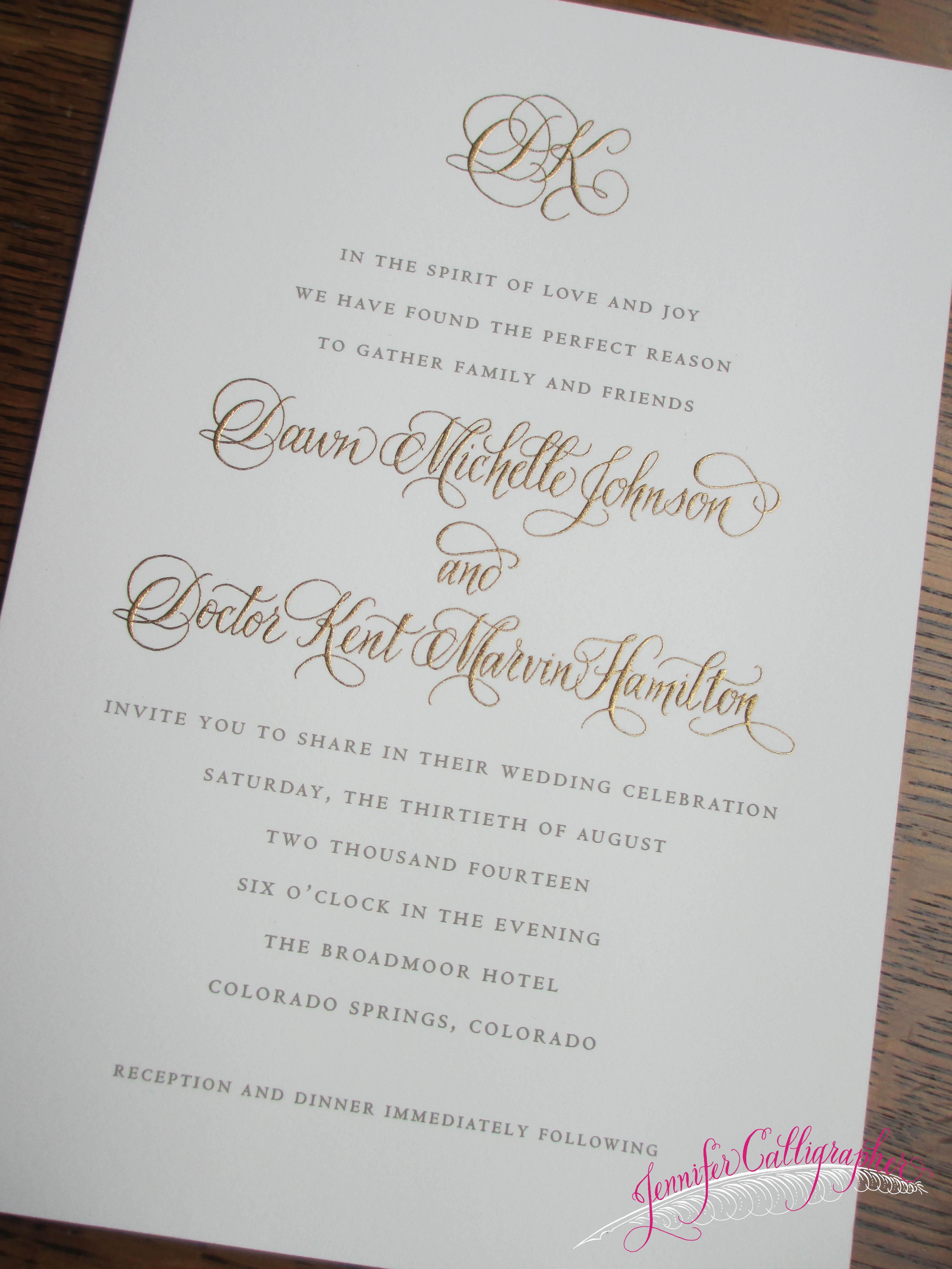 Calligraphy Wedding Invitation Jennifercalligraphy Moderncalligraphy