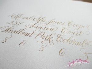 calligraphy on wedding envelopes gold ink jennifercalligrapher