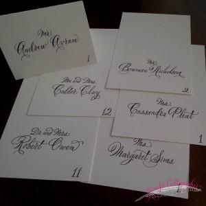 escort cards calligraphy jennifercalligrapher