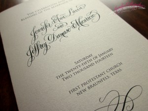 jennifercalligrapher weddingprogram