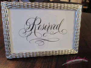 Reserved sign for wedding