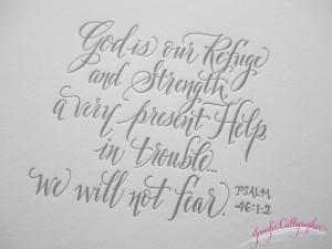 God is our Refuge calligraphy print jennifercalligrapher