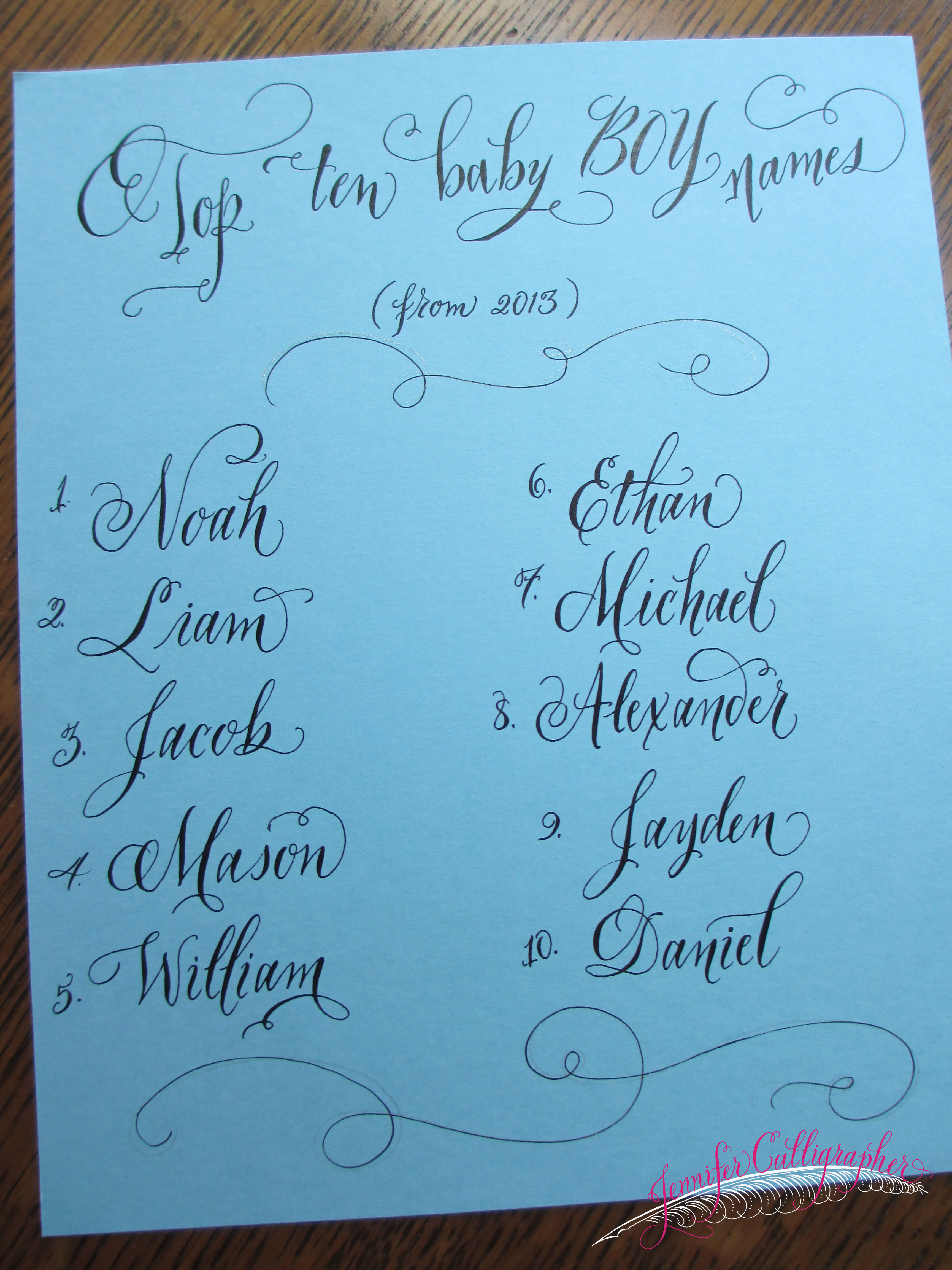 Trending Baby Names… in calligraphy | Jennifer Calligrapher