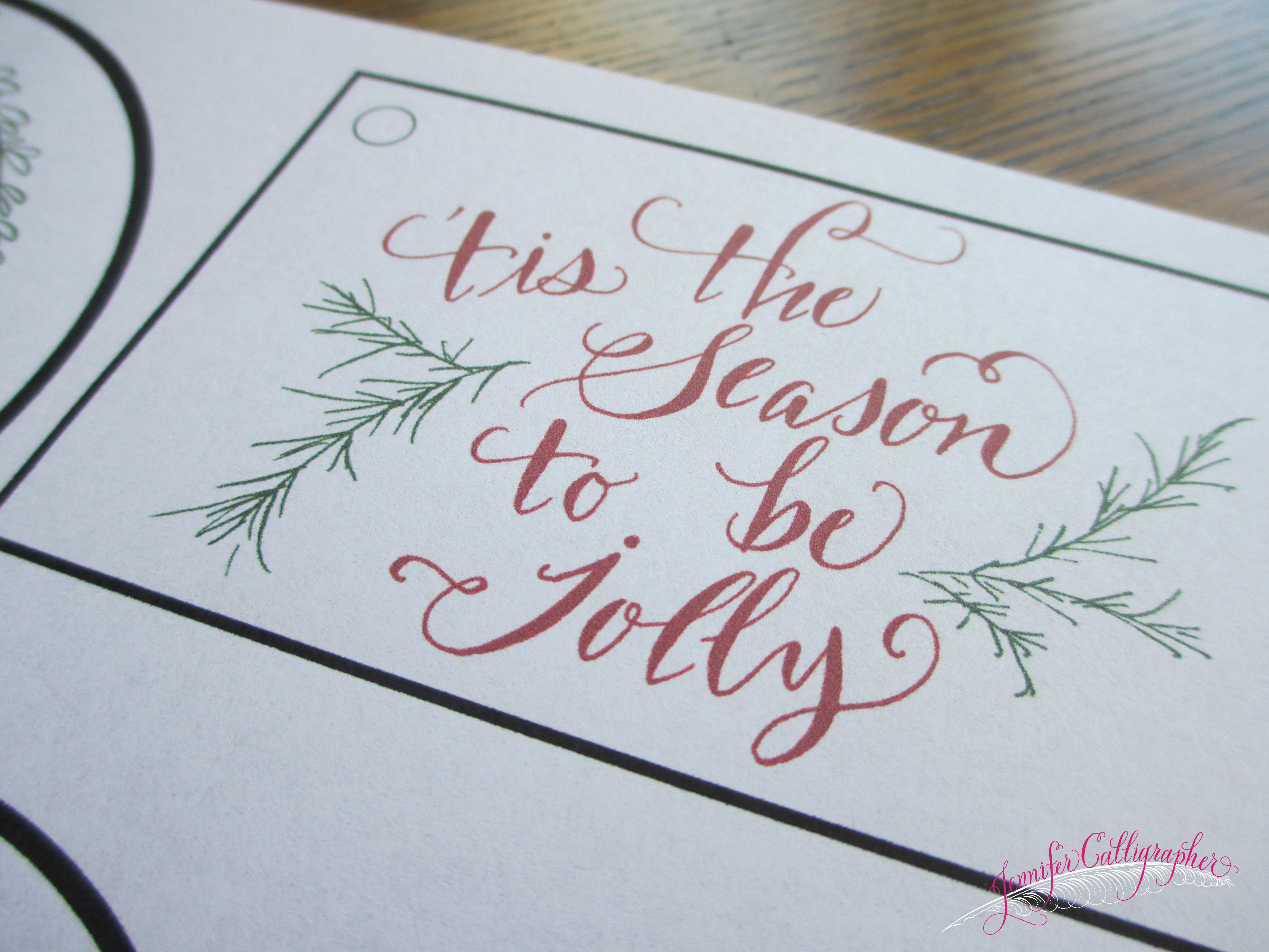 Printable calligraphy christmas tags jennifer calligrapher