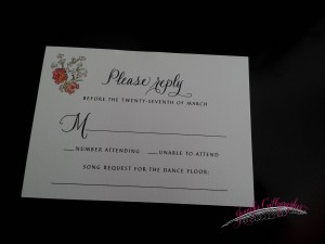 wedding response card in calligraphy