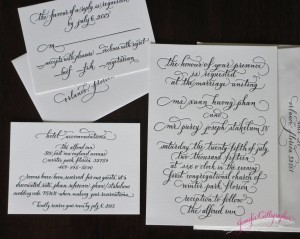 wedding invitation calligraphy letterpress