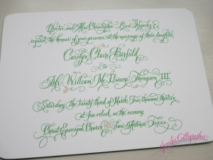 pointed pen calligraphy engraved invitation