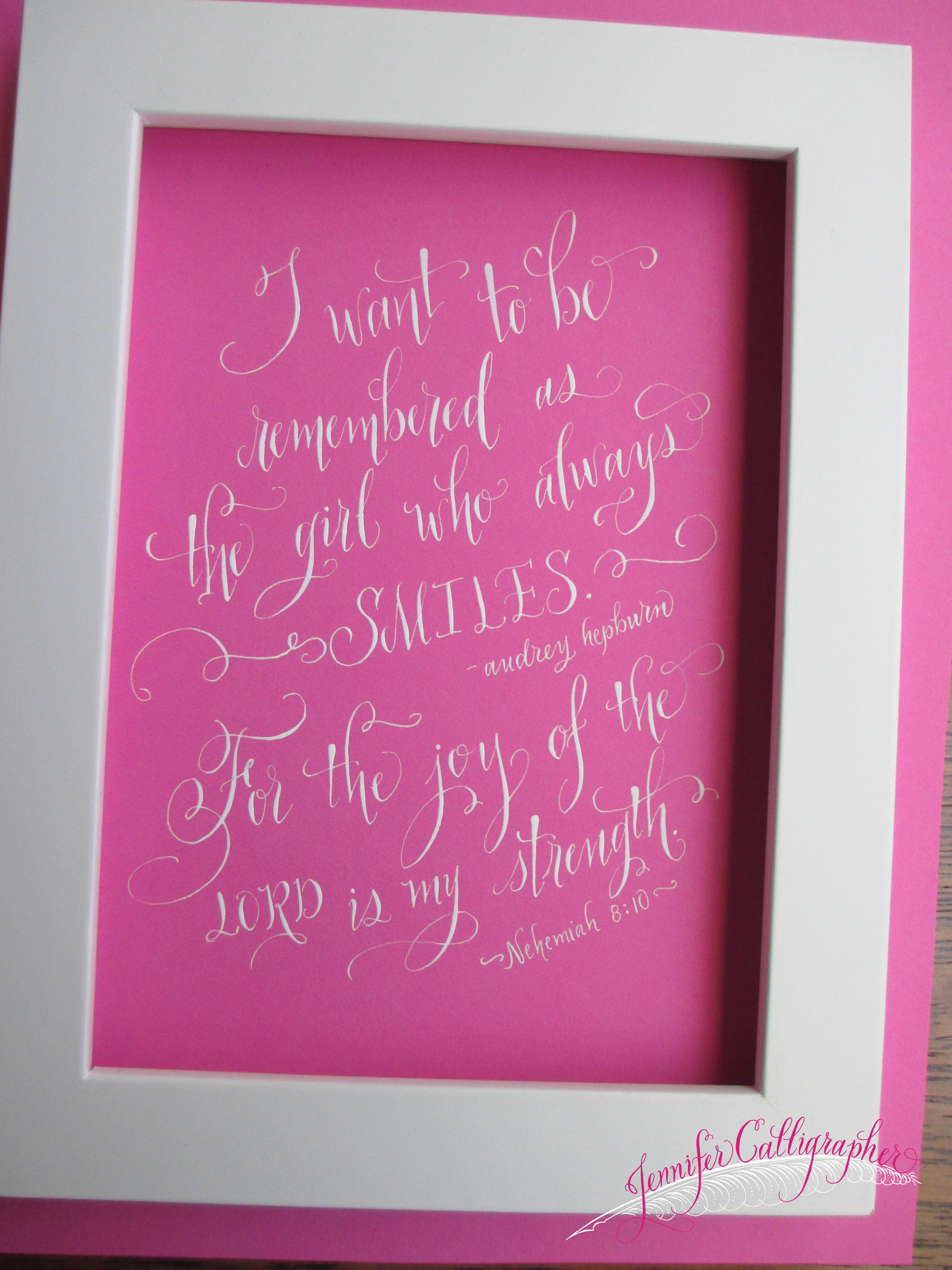 Custom Calligraphy Pieces And Quotes Jennifer Calligrapher